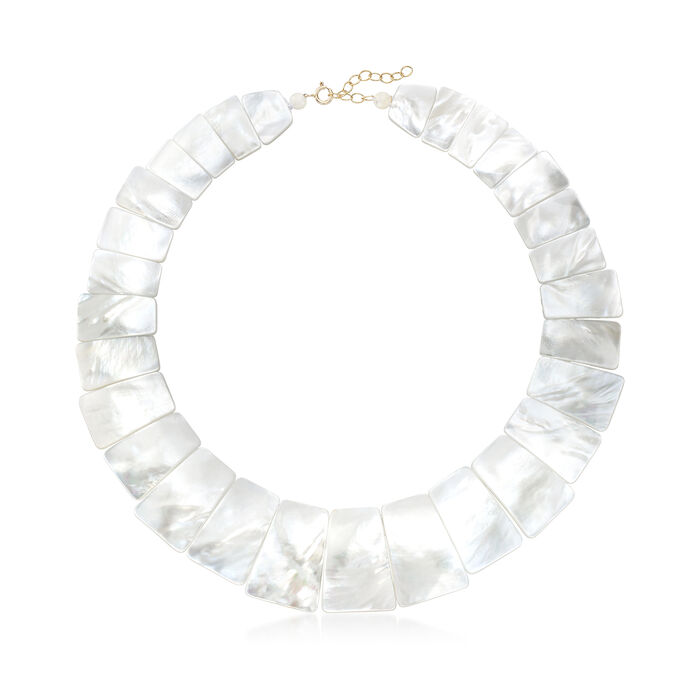 "Graduated Mother-Of-Pearl Collar Necklace With 14kt Yellow Gold. 16"", , default"
