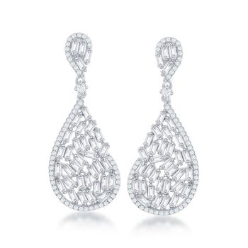 4.00 ct. t.w. Baguette and Round CZ Abstract Teardrop Earrings in Sterling Silver, , default