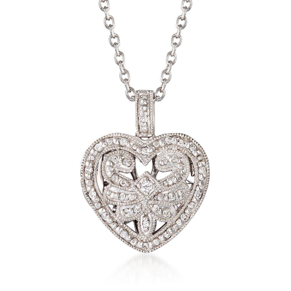 """c60280089 .20 ct. t.w. Diamond Fancy Heart Locket Necklace in Sterling Silver.  18"""""""