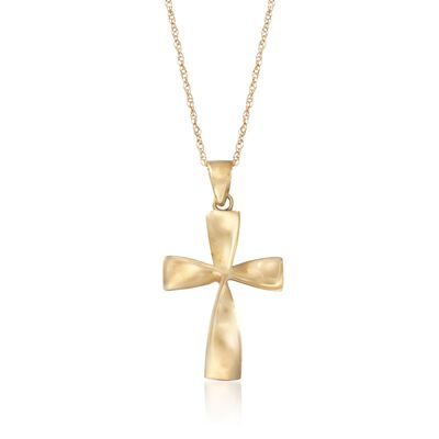 14kt Yellow Gold Curved Cross Pendant Necklace, , default