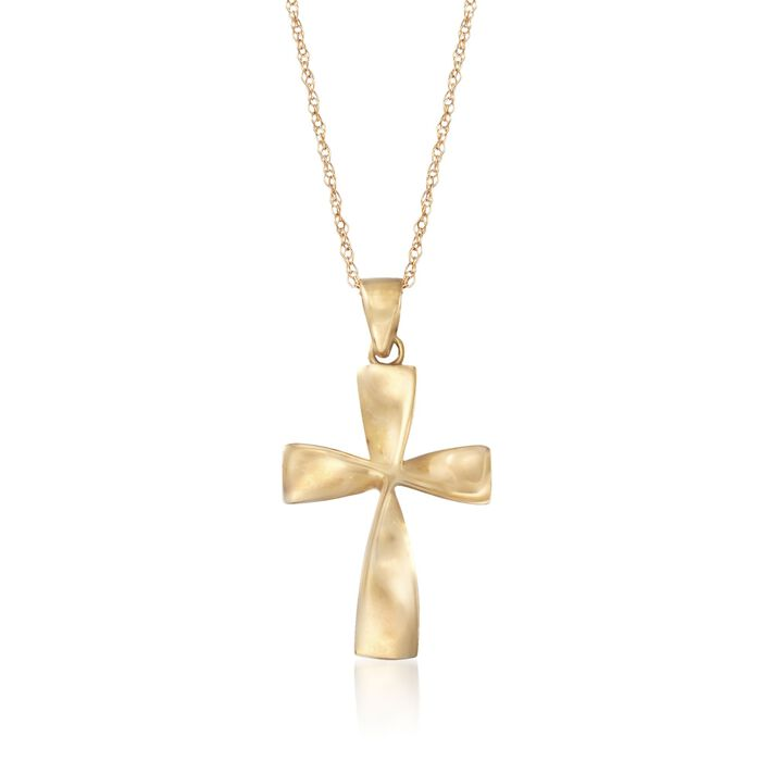 """14kt Yellow Gold Curved Cross Pendant Necklace. 18"""", , default"""