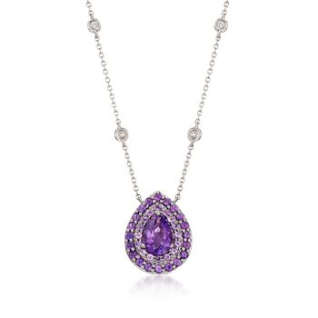 """Gregg Ruth 1.60 ct. t.w. Amethyst and Diamond Necklace in 18kt White Gold. 18"""", , default"""