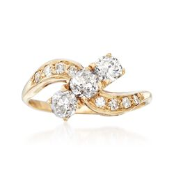 C. 1960 Vintage 1.06 ct. t.w. Curved Diamond Ring in 14kt Yellow Gold. Size 7, , default