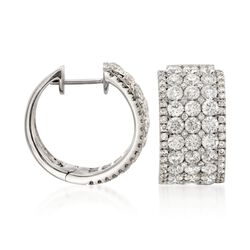 "4.15 ct. t.w. Diamond Multi-Row Hoop Earrings in 14kt White Gold. 5/8"", , default"