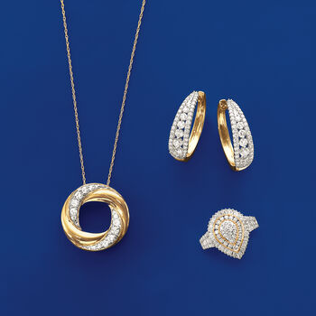 .50 ct. t.w. Diamond Twisted Circle Necklace in 14kt Yellow Gold, , default