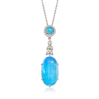 C. 2000 Vintage Multicolored Opal and .30 ct. t.w. Diamond Drop Necklace in 18kt White Gold, , default