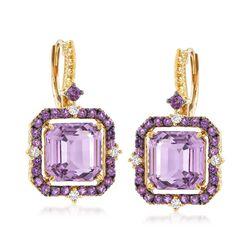 "Judith Ripka ""Lila"" 7.25 ct. t.w. Amethyst and .14 ct. t.w. Diamond Drop Earrings in 18kt Yellow Gold , , default"
