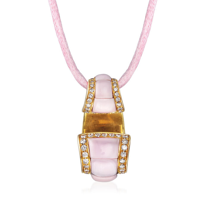 C. 1990 Vintage Pink Opal and .44 ct. t.w. Diamond Pendant Necklace in 18kt Yellow Gold