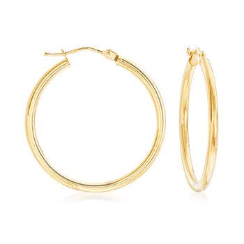 """Italian 2mm 18kt Yellow Gold Hoop Earrings. 1 1/8"""", , default"""