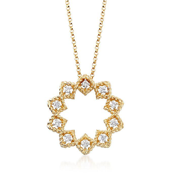 "Roberto Coin ""Barocco"" .22 ct. t.w. Diamond Medium Open Starburst Pendant Necklace in 18kt Yellow Gold"