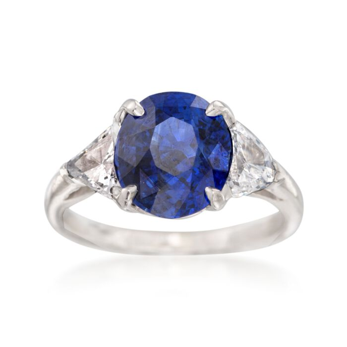 C. 1990 Vintage 2.90 Carat Sapphire and .90 ct. t.w. Diamond Ring in Platinum. Size 7.75