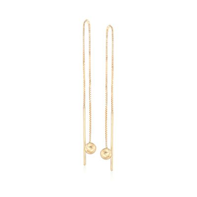 14kt Yellow Gold Ball Drop Threader Earrings, , default