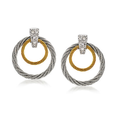"ALOR ""Classique"" Two-Tone Double Hoop Stainless Steel Cable Earrings with Diamond Accents and 18kt White Gold"