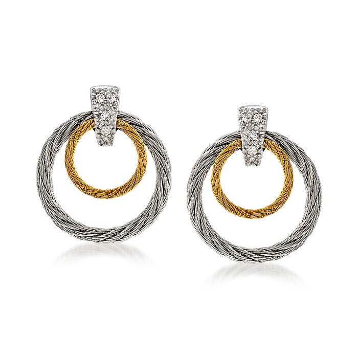 """ALOR """"Classique"""" Two-Tone Double Hoop Stainless Steel Cable Earrings with Diamond Accents and 18kt White Gold"""