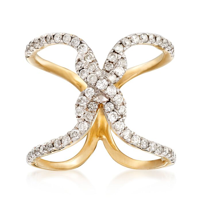 .70 ct. t.w. Diamond Twist Ring in 14kt Yellow Gold. Size 5