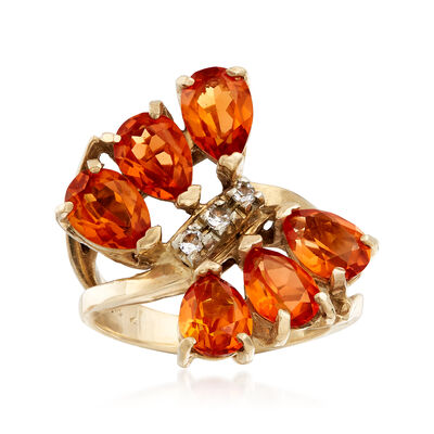 C. 1980 Vintage 4.50 ct. t.w. Orange Garnet Ring with White Topaz Accents in 10kt Yellow Gold, , default