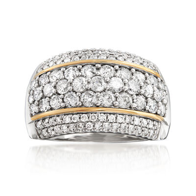 2.00 ct. t.w. Diamond Dome Ring in Sterling Silver with 14kt Yellow Gold, , default