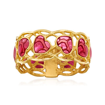 Italian Pink Enamel Heart Ring in 14kt Yellow Gold