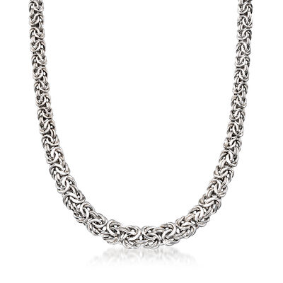Sterling Silver Graduated Byzantine Necklace