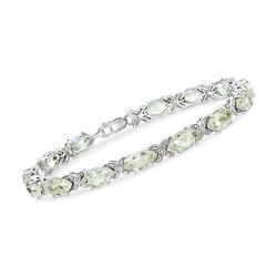18.00 ct. t.w. Green Prasiolite Bracelet in Sterling Silver, , default