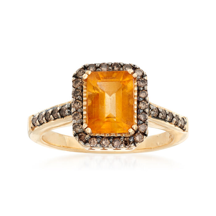 C. 1990 Vintage 1.45 Carat Citrine and .50 ct. t.w. Champagne Diamond Ring in 14kt Yellow Gold. Size 6.75