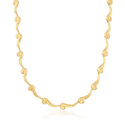 C. 1990 Vintage 18kt Yellow Gold Swirl Link Necklace
