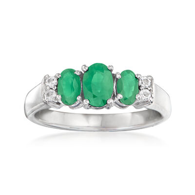 .80 ct. t.w. Emerald Ring with White Topaz Accents in Sterling Silver