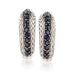 "Phillip Gavriel ""Woven"" .70 ct. t.w. Black Sapphire Hoop Earrings in Sterling Silver. 5/8"", , default"