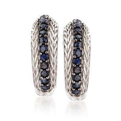 """Phillip Gavriel """"Woven"""" .70 ct. t.w. Black Sapphire Hoop Earrings in Sterling Silver, , default"""