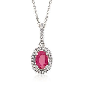 ".60 Carat Ruby and .12 ct. t.w. Diamond Pendant Necklace in 14kt White Gold. 18"", , default"