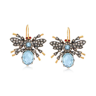 C. 1980 Vintage 3.87 ct. t.w. Aquamarine and 1.25 ct. t.w. Diamond Bee Drop Earrings in Sterling Silver and 14kt Gold Over Sterling