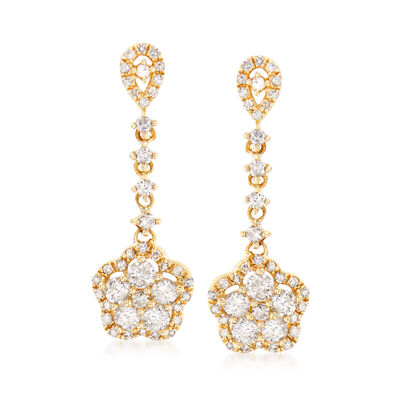 .75 ct. t.w. Diamond Floral Drop Earrings in 14kt Yellow Gold, , default