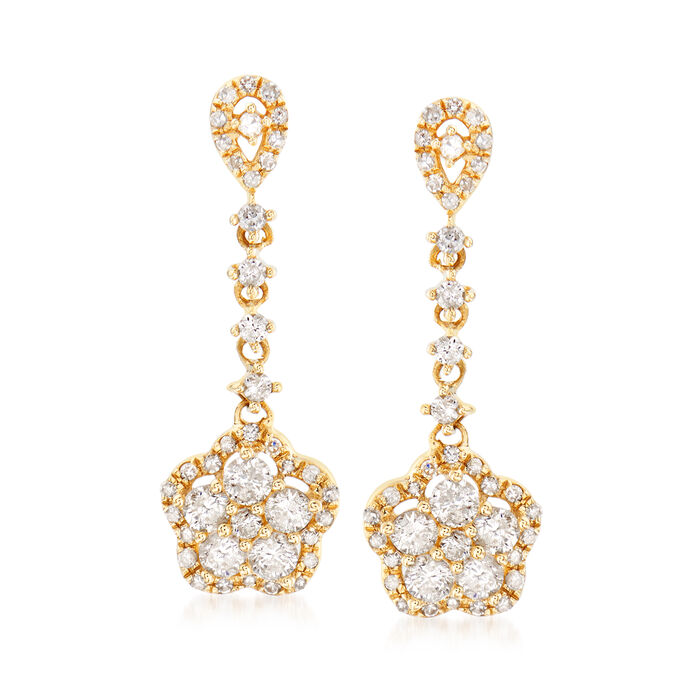 .75 ct. t.w. Diamond Floral Drop Earrings in 14kt Yellow Gold, , default