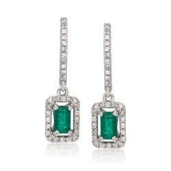 .60 ct. t.w. Emerald and .25 ct. t.w. Diamond Drop Earrings in 14kt White Gold, , default