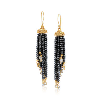 55.00 ct. t.w. Black Spinel and 2.60 ct. t.w. White Topaz Drop Earrings in 18kt Gold Over Sterling, , default