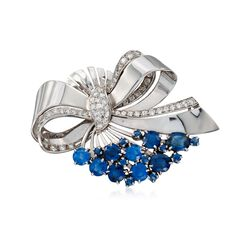 C. 1950 Vintage J.E. Caldwell 6.85 ct. t.w. Sapphire and 1.55 ct. t.w. Diamond Bow Pin in 14kt White Gold , , default