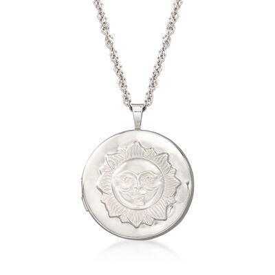 Sterling Silver Adjustable Sun Locket Pendant Necklace, , default