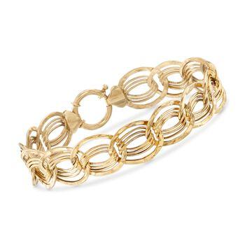 "14kt Yellow Gold Interlocking Multi-Link Bracelet. 7.25"", , default"