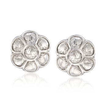 Italian Sterling Silver Textured and Polished Flower Earrings, , default