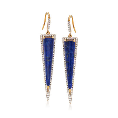 Lapis and 1.70 ct. t.w. White Zircon Drop Earrings in 18kt Gold Over Sterling, , default