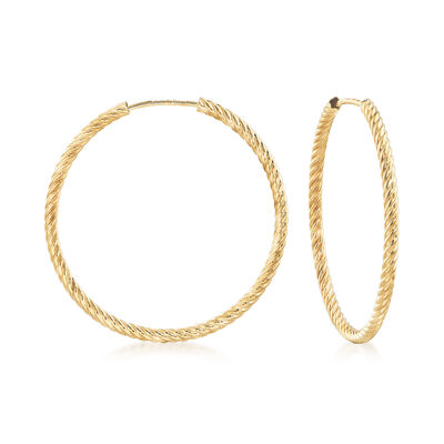 Small 14kt Yellow Gold Roped Hoop Earrings, , default