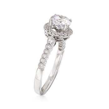 .32 ct. t.w. Diamond Halo Engagement Ring Setting in 14kt White Gold, , default