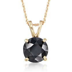 2.00 Carat Black Diamond Solitaire Necklace in 14kt Yellow Gold , , default