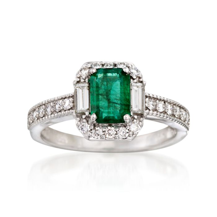 1.00 Carat Emerald and .45 ct. t.w. Diamond Ring in 14kt White Gold, , default