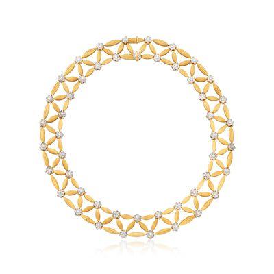 C. 1980 Vintage 7.50 ct. t.w. Diamond and 18kt Two-Tone Gold Lattice Necklace, , default