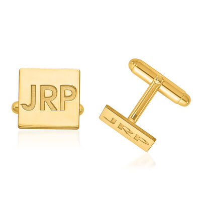 14kt Yellow Gold Recessed Letters Square Monogram Cuff Links, , default