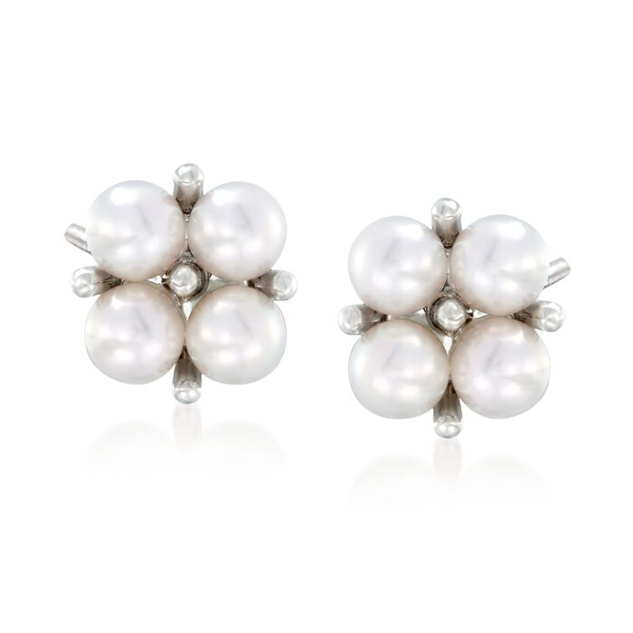 Mikimoto 3.25mm A+ Akoya Pearl Cluster Earrings in 18kt White Gold , , default