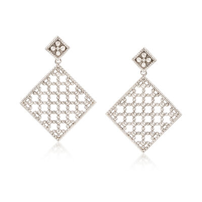 "Andrea Candela ""Cava"" Sterling Silver Openwork Drop Earrings, , default"
