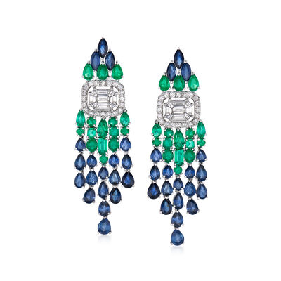 10.95 ct. t.w. Sapphire, 2.95 ct. t.w. Diamond and 2.60 ct. t.w. Emerald Drop Earrings in 18kt White Gold