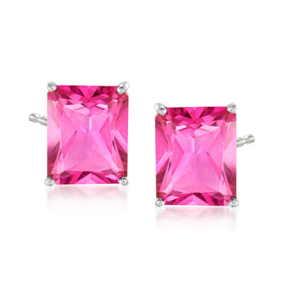 10.00 ct. t.w. Pink Topaz Stud Earrings in 14kt White Gold